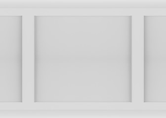 3d rendering. Abstract white Concave square shape wall background.