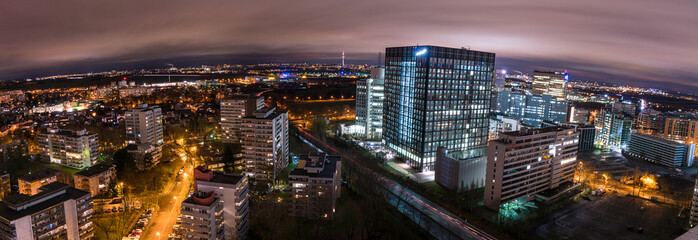 Aerial night view of the Frankfurt city from above.