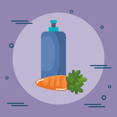 carrot vegetable with bottle gym vector illustration design