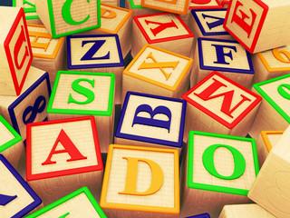 Wooden letter blocks randomly scattered - 3D Illustration