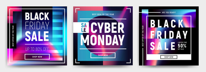 Vector set of 3 social media banners, flyers, poster templates in fluid holography style. Abstract liquid shapes cards for web, e-mail promotion. Business offer black friday and cyber monday sale.
