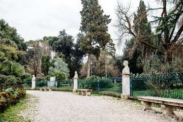 Park with sculptures in Rome, Italy