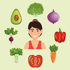 female athlete with healthy food vector illustration design