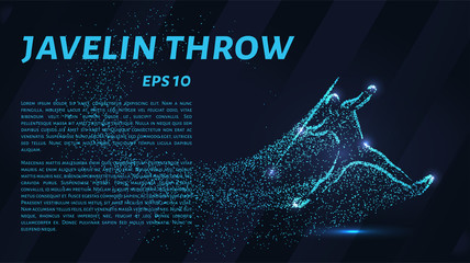 Throwing spears out of particles. Javelin throwing consists of dots and circles.