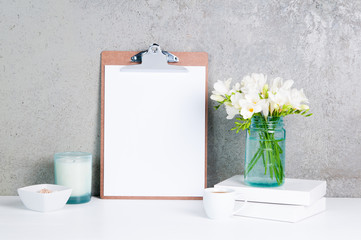 desk top,feminine,flowers,spring,fresh,pretty,white,blue,grey,candle,coffee,clipboard,paper,blank