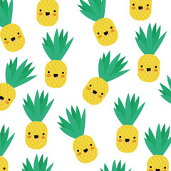 pineapple fresh pattern kawaii characters vector illustration design