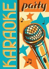 Karaoke party poster. Music event banner. Illustration with microphone in retro style