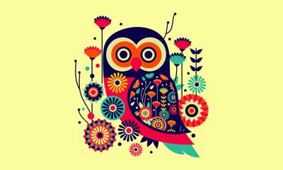 Owl Bird Vector Cartoon Design