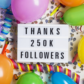 Thanks 250 thousand followers social media lightbox background. Celebration of followers, subscribers, likes.
