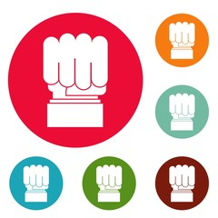 Hand protest icons circle set vector isolated on white background