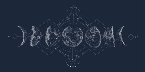 Foto auf Leinwand Retro Vector illustration set of moon phases. Different stages of moonlight activity in vintage engraving style