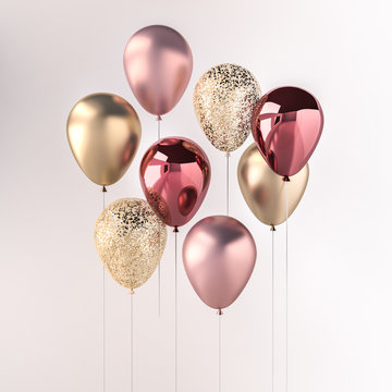 Set of pink and golden glossy balloons on the stick with sparkles on white background. 3D render for birthday, party, wedding or promotion banners or posters. Vibrant and realistic illustration.