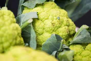 cauliflower on market counter