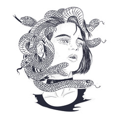 portrait of woman with hair of snakes. engraving, sketch for print on T-shirt, magic, isotherica, hipster style, vector graphics