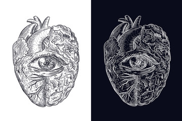 heart, brain, all-seeing eye. style of engraving and polygonal. sketch for printing on clothes. abstract vector art