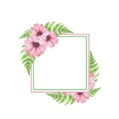 Watercolor frame 5. Element for design. Watercolor background with flowers and leaves