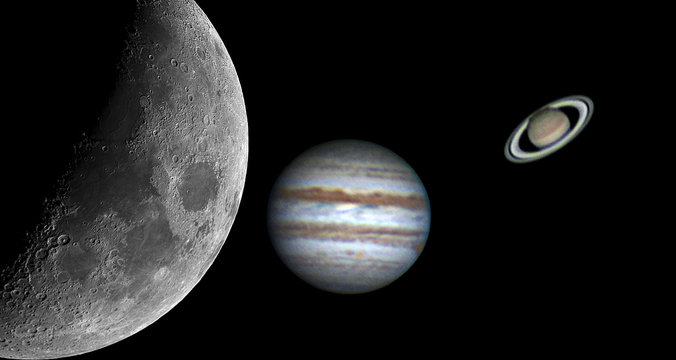 Some planets (Jupiter and Saturn) and Moon taken by telescope