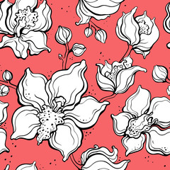 Floral pattern with Orchids. Hand drawn illustration. Seamless background