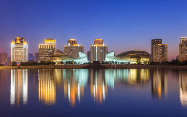 the night view of ruyi lake in zhengdong new district in China