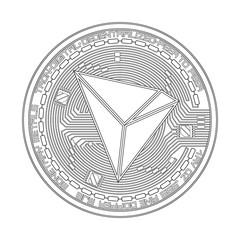 Crypto currency black coin with black tron symbol on obverse isolated on white background. Vector illustration. Use for logos, print products, page and web decor or other design.