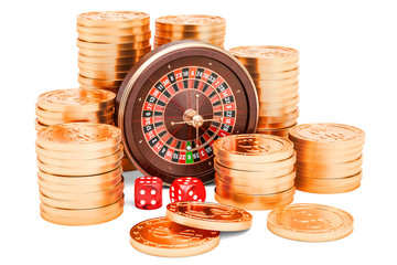 Casino and gambling concept. Roulette with dice and golden coins, 3D rendering