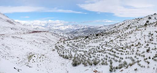 Atlas Mountains landscape during winter snow, Aguelmouss, Souss-Massa, Morocco