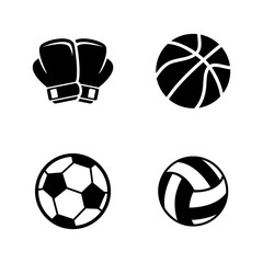Sports Equipment. Simple Related Vector Icons Set for Video, Mobile Apps, Web Sites, Print Projects and Your Design. Black Flat Illustration on White Background.