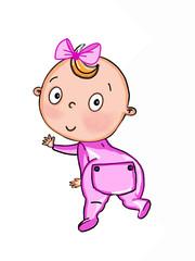 cute baby girl cartoon illustration