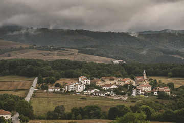 View of small old town, Pamplona, Navarre, Spain