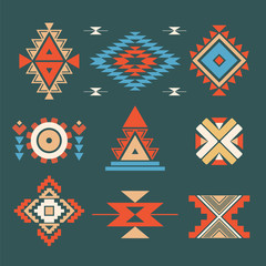 Tribal ethnic colored elements on dark background  . Vector .