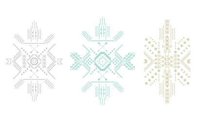 Set of pale tribal shapes . Vector .