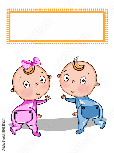 Cute twin baby cartoon illustration stock photo and royalty free cute twin baby cartoon illustration voltagebd Image collections