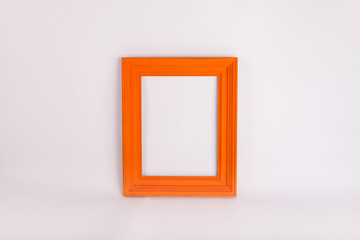 Orange picture frame on white background