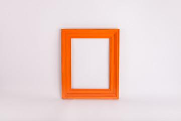Orange picture frame on white background