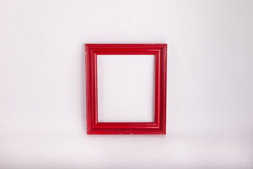 Red picture frame on white background