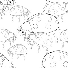 coloring seamless pattern  is ladybug insect nature. vector illustration