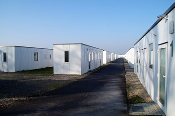 Vollausgestattete Container für die Asylunterkunftin Hamminkeln