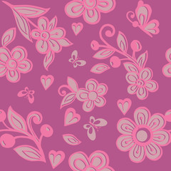 Cute pink floral seamless ornament with butterflies. Floral wallpaper. Decorative ornament for fabric, textile, wrapping paper.