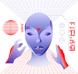Virtual reality concept, cyberpunk girl character in futuristic 3d space. Vector illustration.