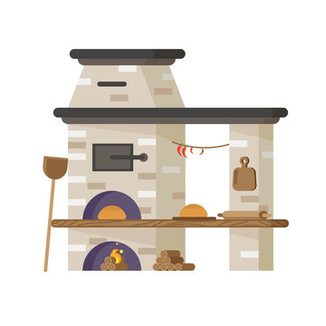 Oven for baking bread or pizza. Vector in flat style
