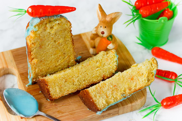 Easter carrot cake kulich with blue icing