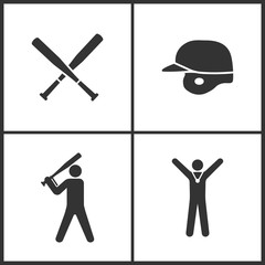 Vector Illustration of Sport Set Icons. Elements of Baseball Crossed Bats, Baseball helmet, Baseball player and Winner icon