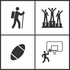 Vector Illustration of Sport Set Icons. Elements of Climber, Champion, Rugby ball, Basketball Basket and ball icon