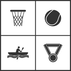 Vector Illustration of Sport Set Icons. Elements of Basketball ring, tennis ball, Rowing and Medal icon