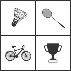 Vector Illustration of Sport Set Icons. Elements of Badminton, Badminton, Bicycle and Award icon