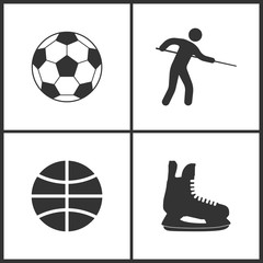 Vector Illustration of Sport Set Icons. Elements of Football ball, Pool Player, Basketball ball and Ice skate icon