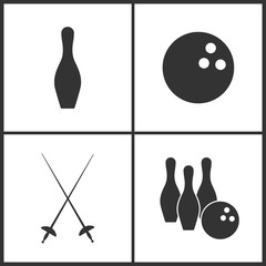 Vector Illustration of Sport Set Icons. Elements of Bowling pin, The bowling, Fencings and Bowling icon