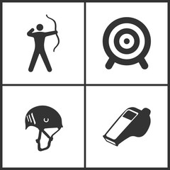 Vector Illustration of Sport Set Icons. Elements of Archer, Target, Climbing helmet and Whistle icon