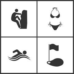 Vector Illustration of Sport Set Icons. Elements of Rock climber, Swimsuit, Summer Swim Water Information and Golf icon