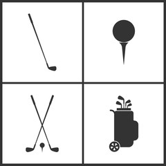 Vector Illustration of Sport Set Icons. Elements of Golfing, Golf ball, Golf clubs and Golf bag icon